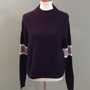Black & Silver Striped Sleeved Sweater